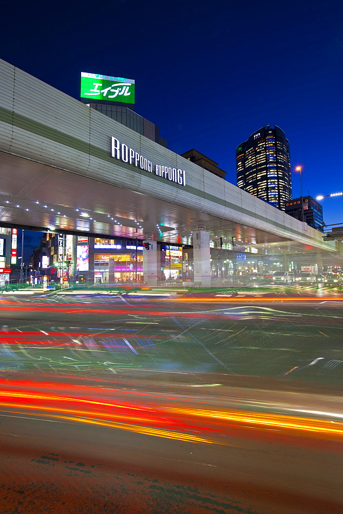 Long exposure of Roppongi Crossing at night, Minato-ku, Tokyo, Japan