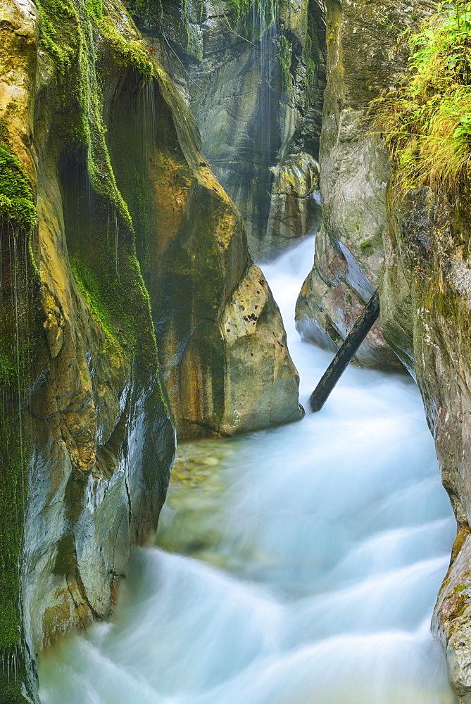 Stream flowing through a narrow canyon, Wimbachklamm, National Park Berchtesgaden, Berchtesgaden, Berchtesgaden range, Upper Bavaria, Bavaria, Germany