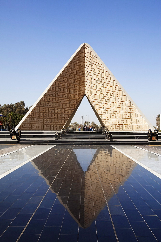 Grave of President Sadat and the Memorial for the unknown soldier under blus sky, Heliopolis district, Cairo, Egypt, Africa