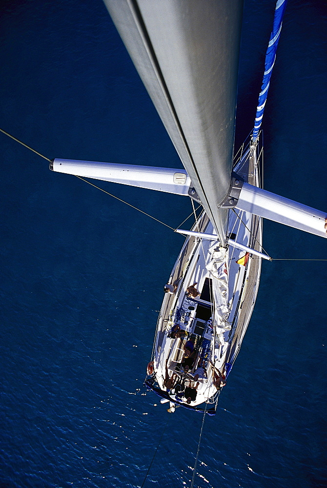 View from the top of a mast, Sailing boat, Mallorca, Spain - 1113-103974
