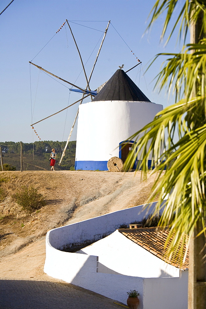 Landscape with Windmill and white painted house, Odeceixe, Algarve, Portugal
