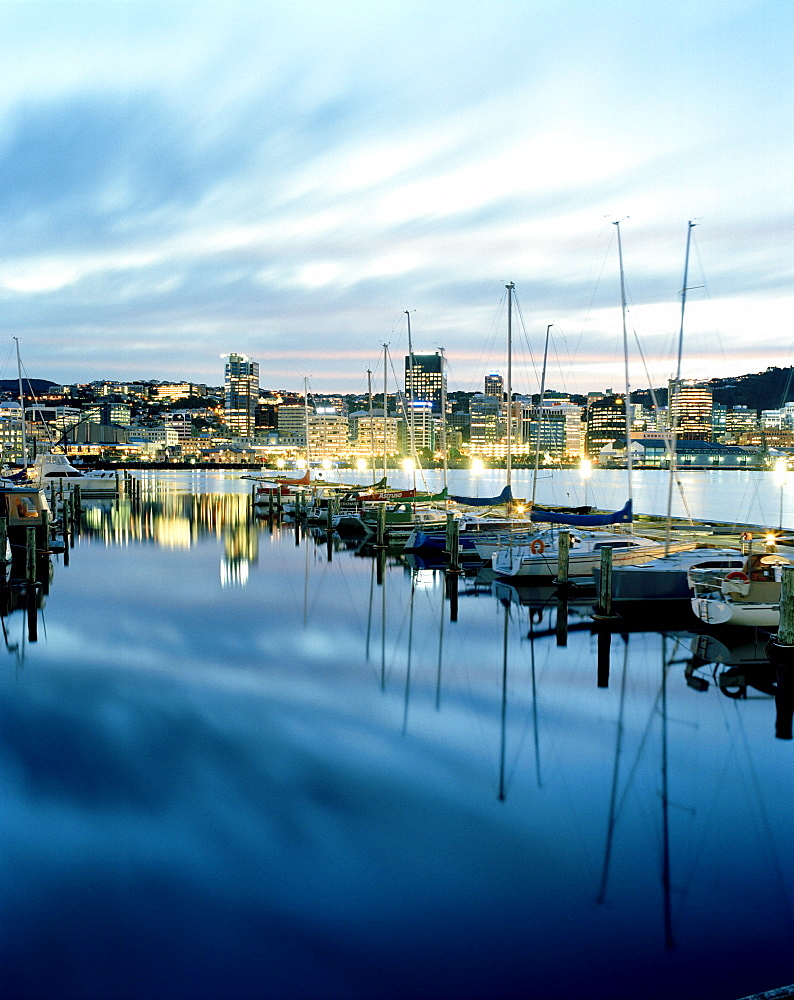 Sailing boats at Chaffers Marina at Lambton Harbour in the evening, view at Central Business District, Wellington, North Island, New Zealand