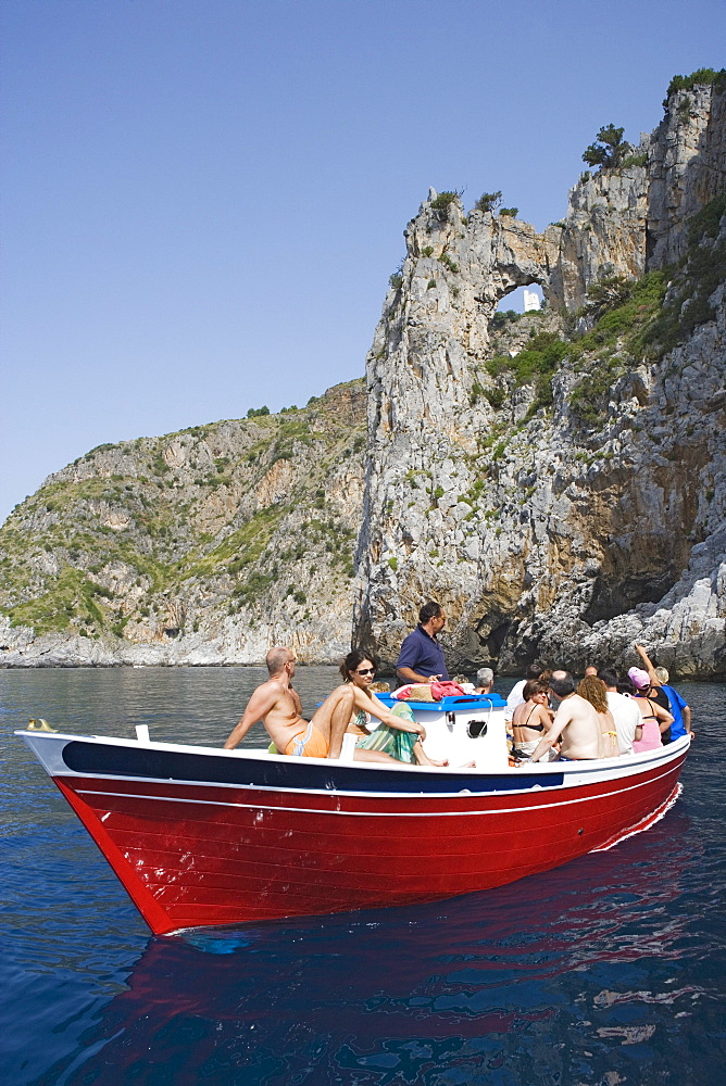 Boat excursion on Cape Palinuro, Cilento, Campania, Italy