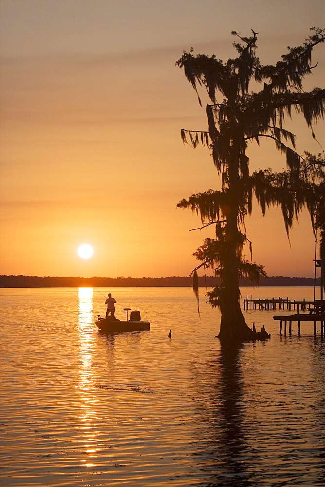 Backwater fishing, Attakapas Landing on Lake Verret, near Pierre Part, Louisiana, USA