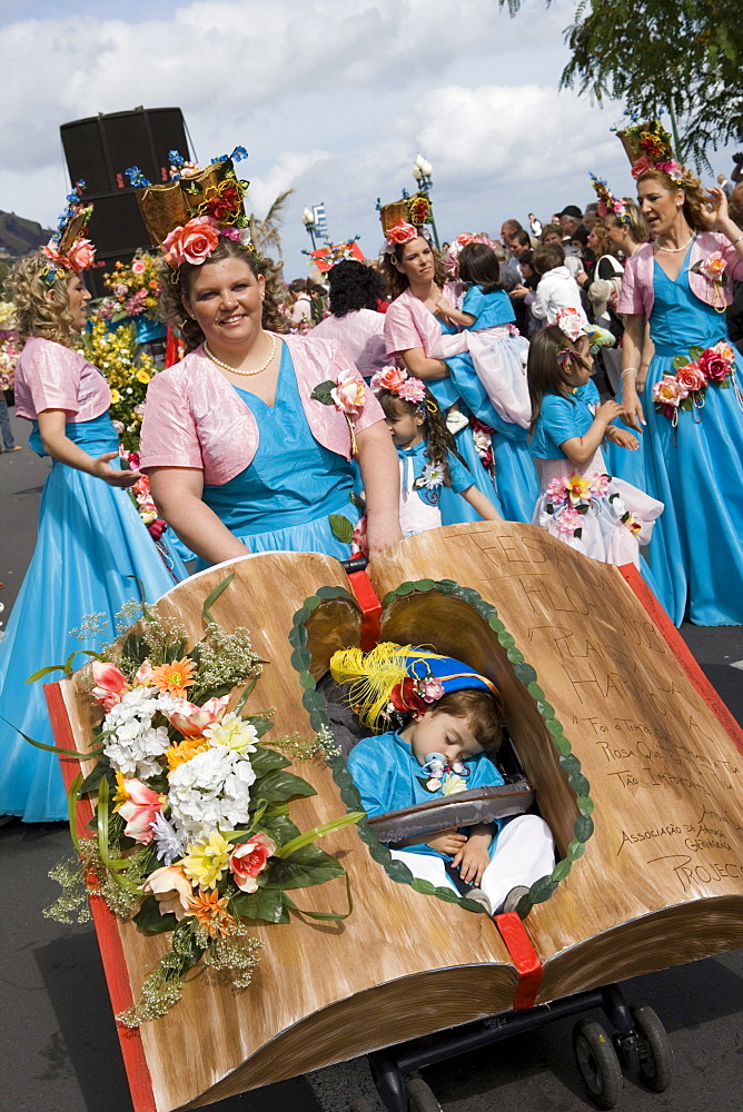 Mother and Child at the Madeira Flower Festival Parade, Funchal, Madeira, Portugal