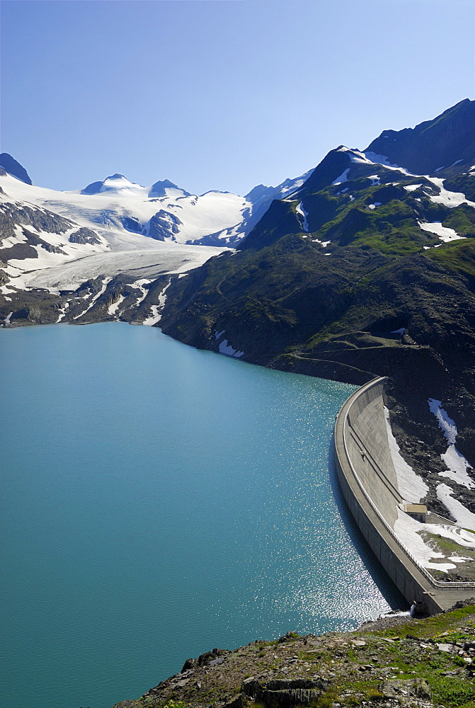Reservoir Griessee with dam wall, Gries Glacier in background, Ticino Alps, Canto of Valais, Switzerland