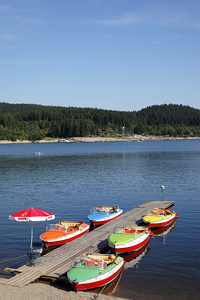 Boats at lake Schluchsee, Bade-Wurttemberg, Germany
