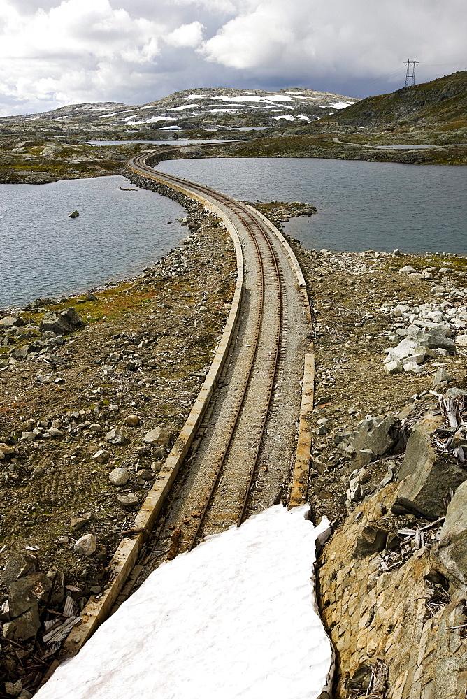 View at old rails at the Hardangervidda national park, Hordaland, South of Norway, Scandinavia, Europe