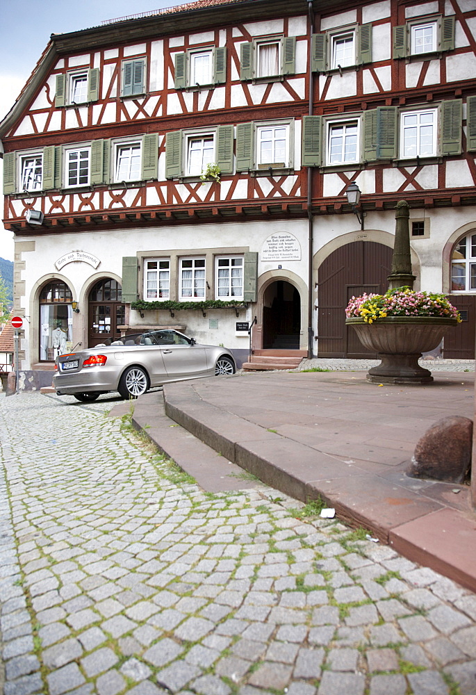 Convertible near House Beck, Gernsbach, Black Forest, Baden-Wuerttemberg, Germany