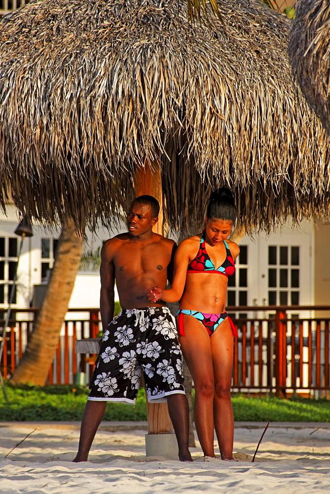 Aruba, Palm Beach, West Indies, Dutch Carribean, Central America, local couple