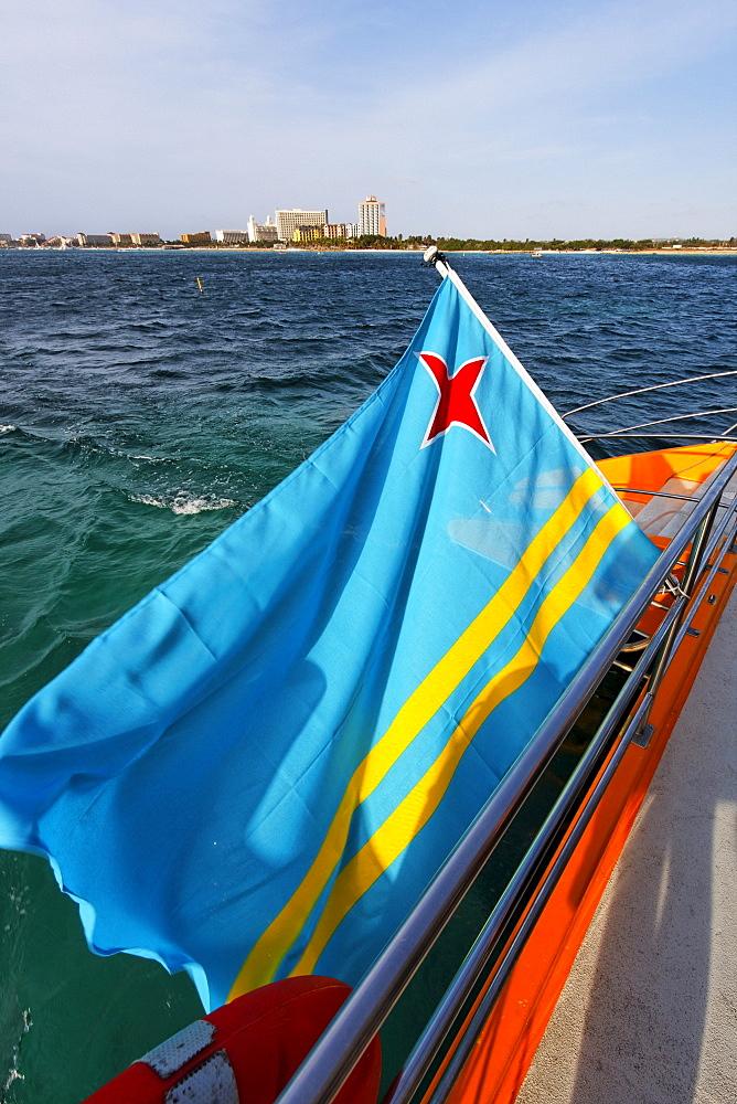 Aruba, Palm Beach, West Indies, Dutch Carribean, Central America, Palm Pleasure CatamaranTrip, Aruba national flag