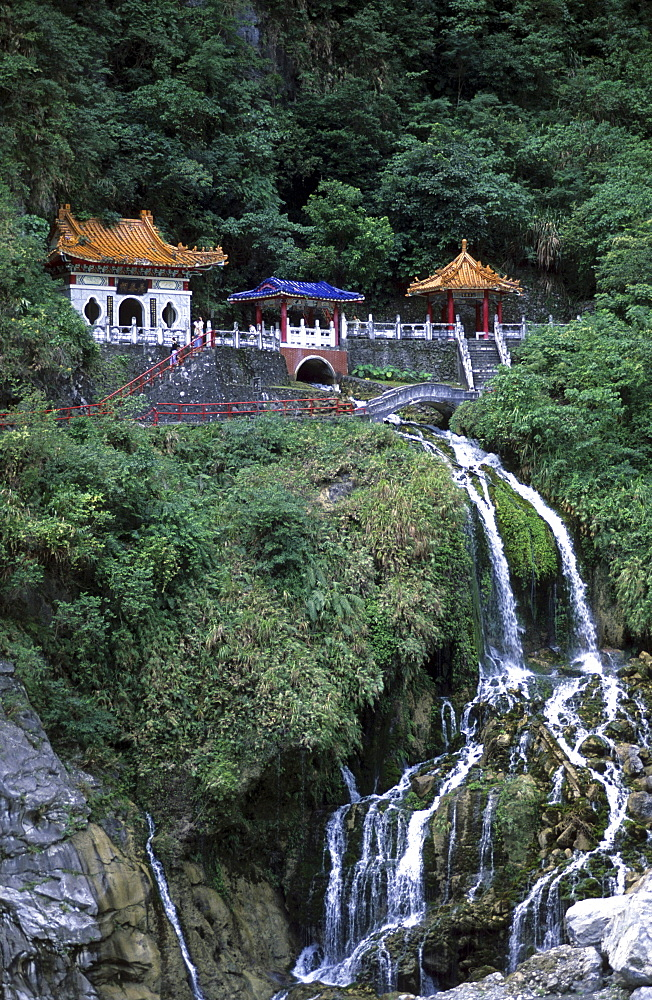 View at the Shrine of the Eternal Spring and a waterfall at the Taroko Gorge, Taroko National Park, Taiwan, Asia