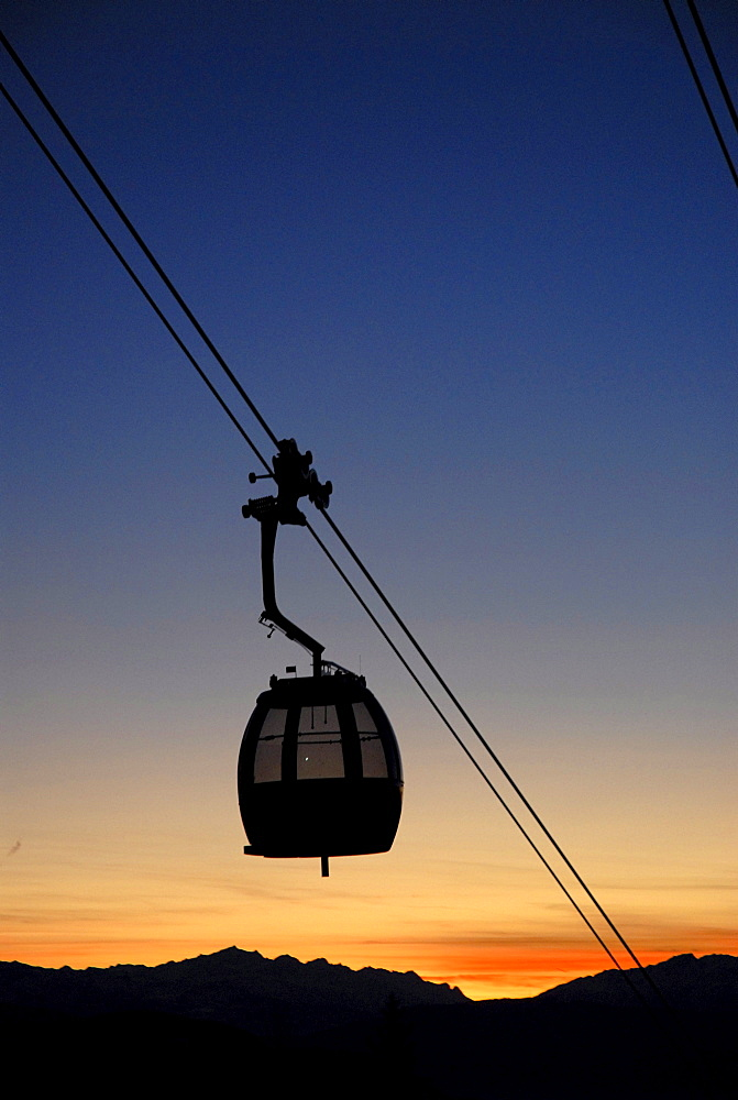Passenger cabin of a cable car at sunset, South Tyrol, Italy, Europe