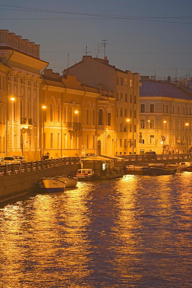 Palaces along the Moika river seen from the Bolschoi Konyushenny bridge, Saint Petersburg, Russia
