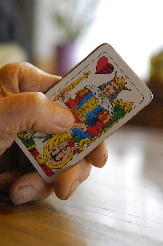Hand holding playing card, South Tyrol, Italy, Europe