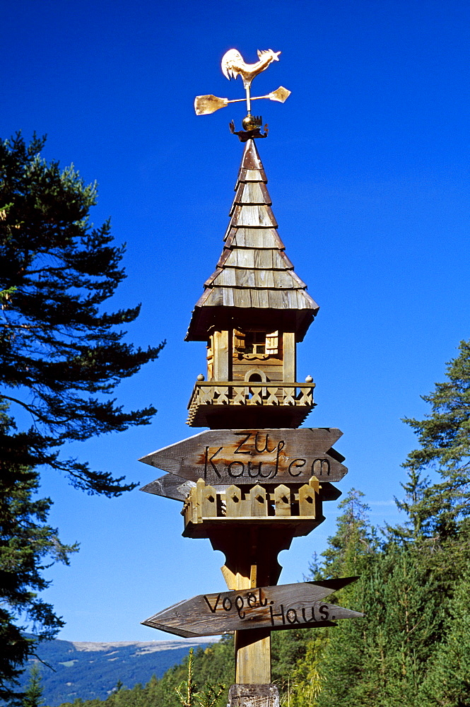 Hand carved birdhouse, Dolomite Alps, South Tyrol, Italy