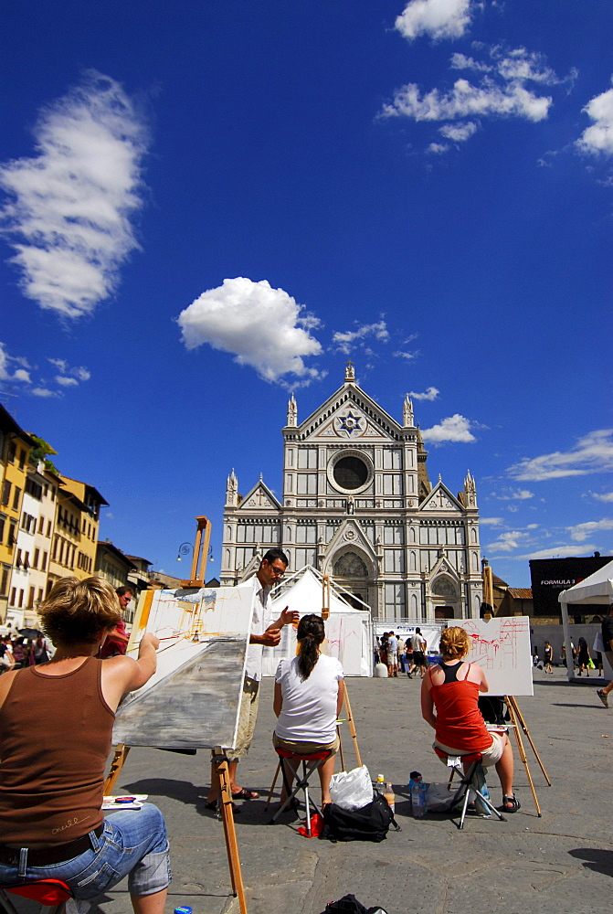 Painting class in front of Santa Croce church under blue sky, Piazza Santa Croce, Florence, Tuscany, Italy, Europe
