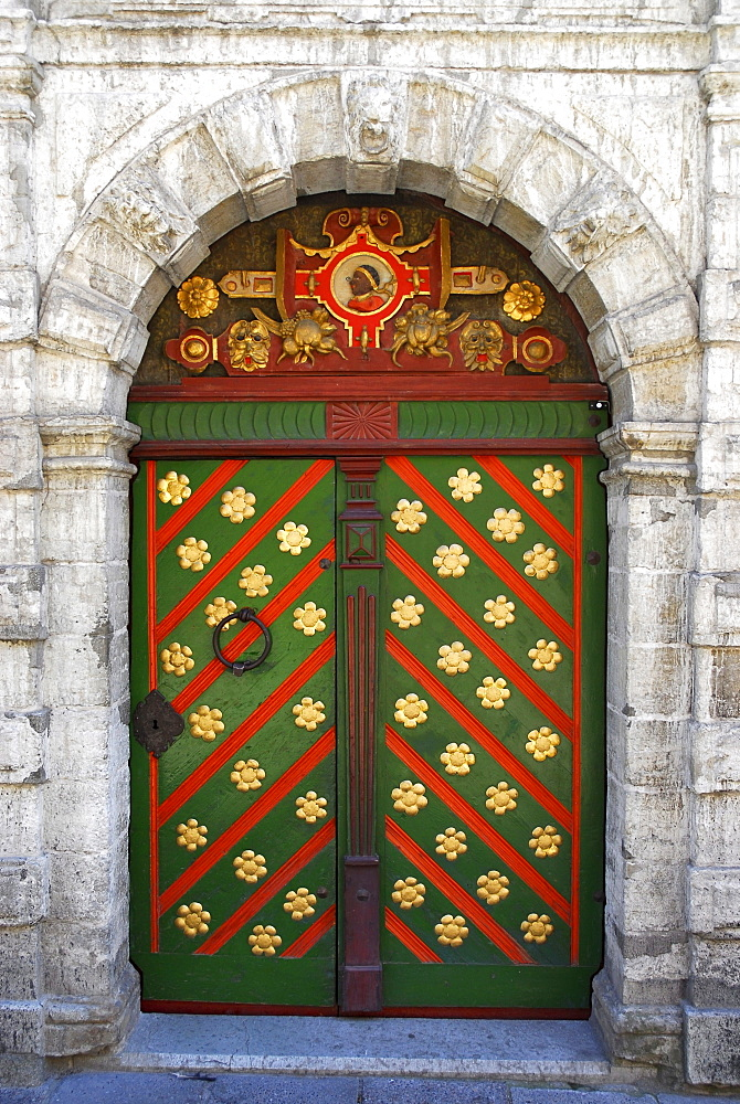 Adorned door of the Blakhad house, Mustpeade Maja, Tallinn, Estonia - 1113-27529