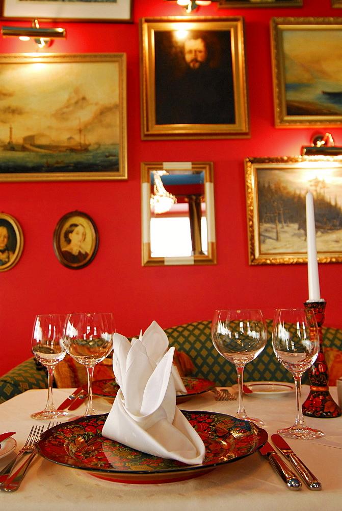 Set table in the russian Nevskij restaurant at St. Petersbourg Hotel, Tallinn, Estonia - 1113-27536