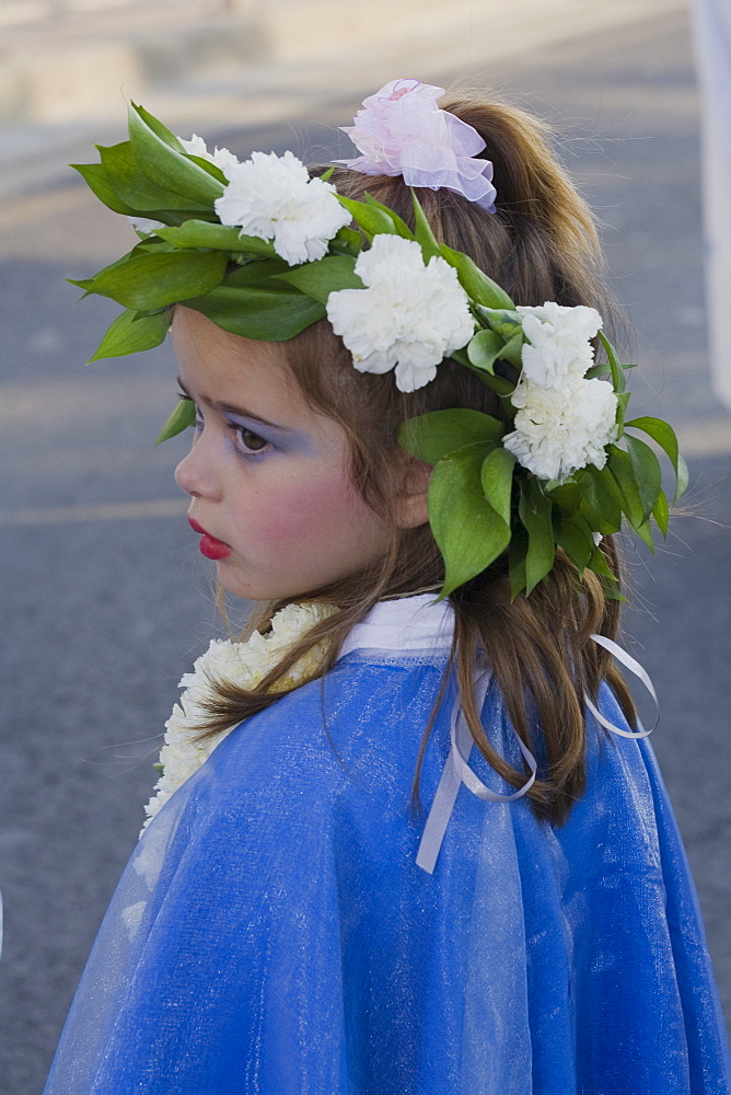 Young girl at the Anthesteria Flower Festival, parade, Germasogeia, Limassol, South Cyprus, Cyprus