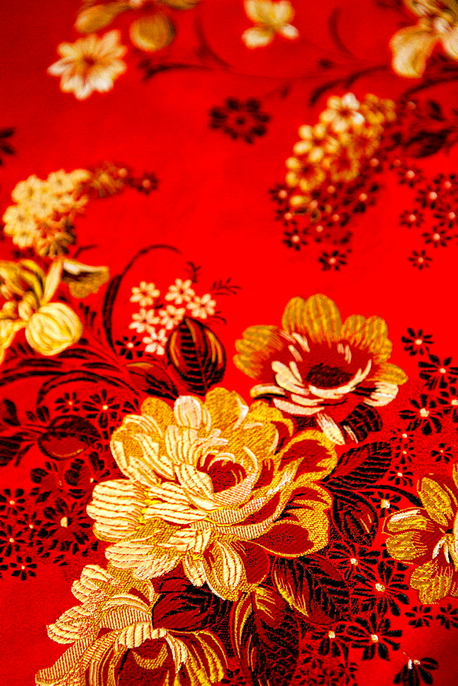 Floral design embroidered taiwanese silk, Taiwan, Asia