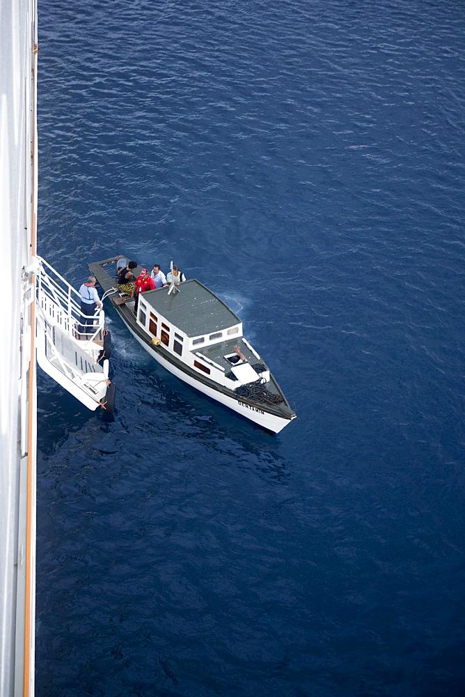 Pilot cutter alongside Cruiseship MV Columbus, Tonga, South Pacific, Oceania