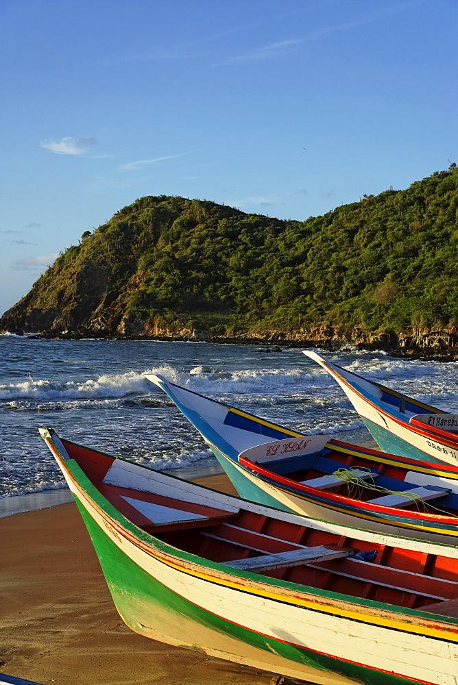 Fishing boats at beach, Playa Guayacan, Isla Margarita, Nueva Esparta, Venezuela