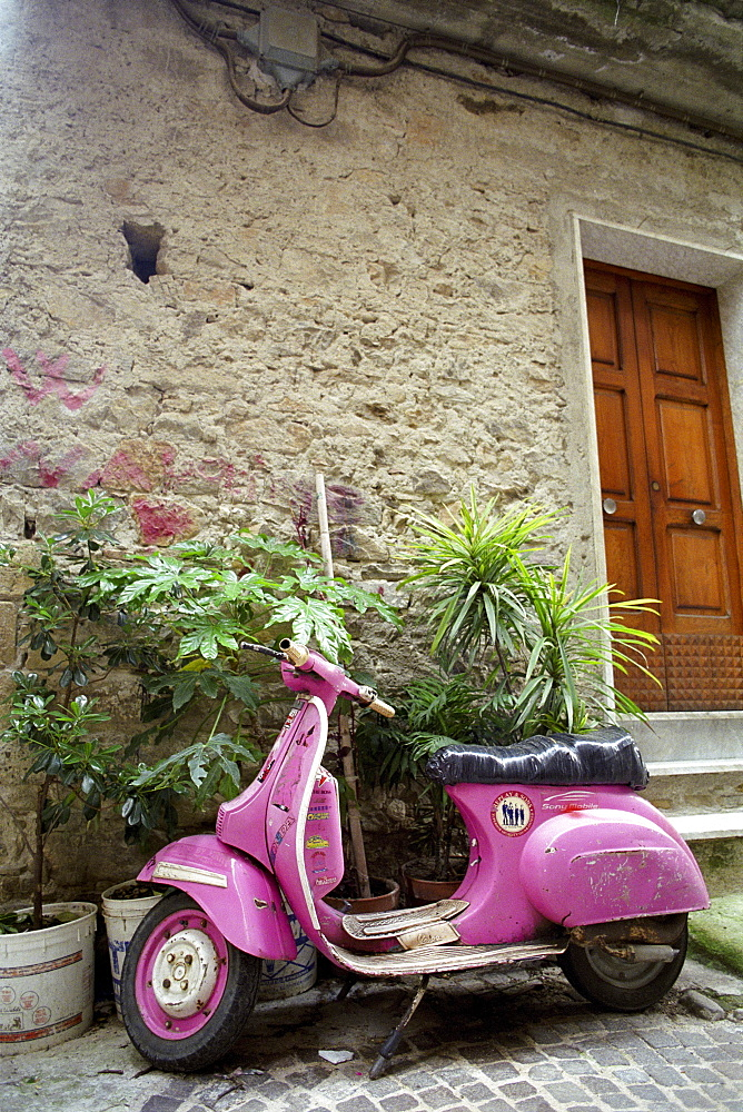 Scooter infront of a house, holiday home, Castellabate, Cilento, Italy