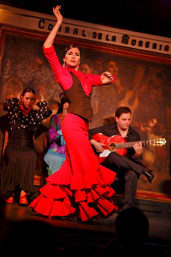 Woman dancing flamenco in the flamenco restaurant Corral de la Maoreira, Madrid, Spain - 1113-29905