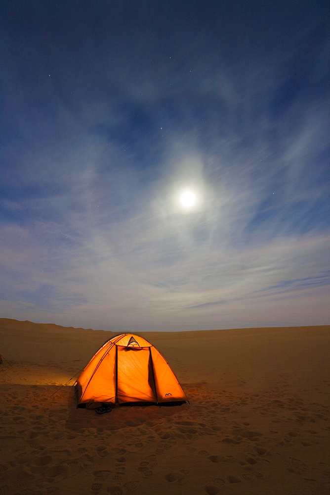 camping under the starry sky in the libyan desert, Moon Halo, Libya, Sahara, Africa