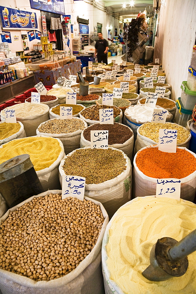 Peas and beans in Vegetable Bazar of Tripoli, Libya, Africa
