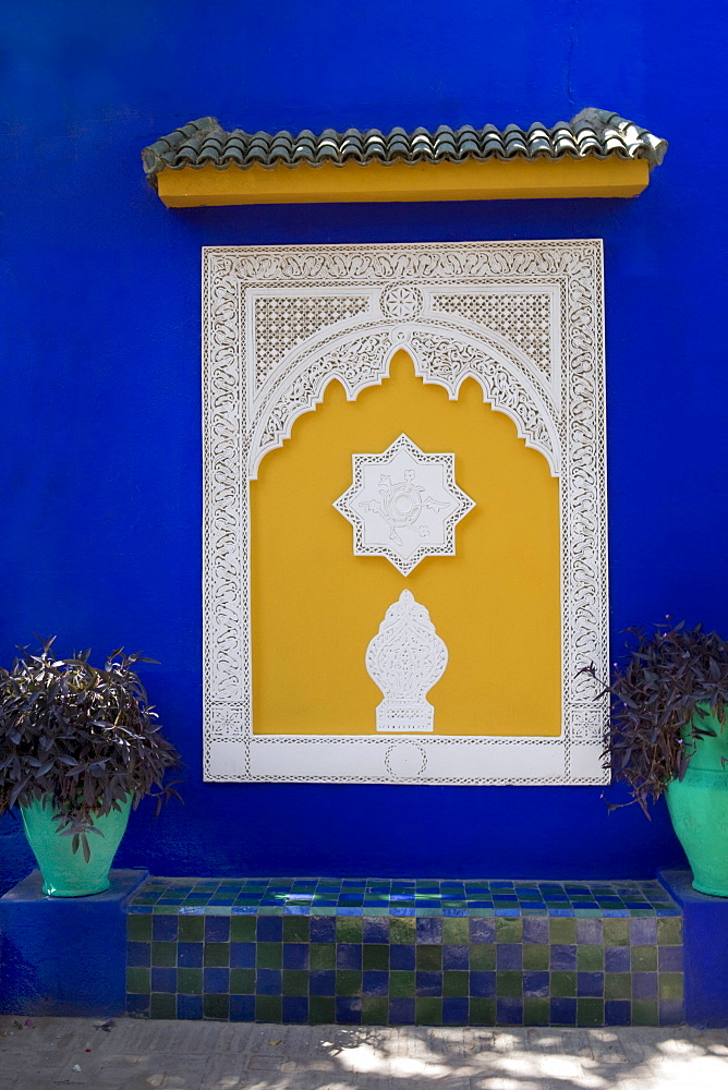 Oriental ornament at the Blue House in Marjorelle Garden, Marrakech, Morocco