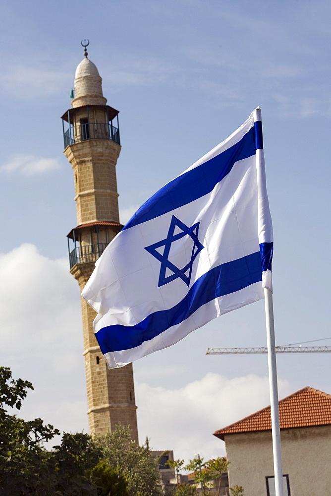 Israeli flag and minaret, Jaffa, Tel Aviv, Israel, Middle East