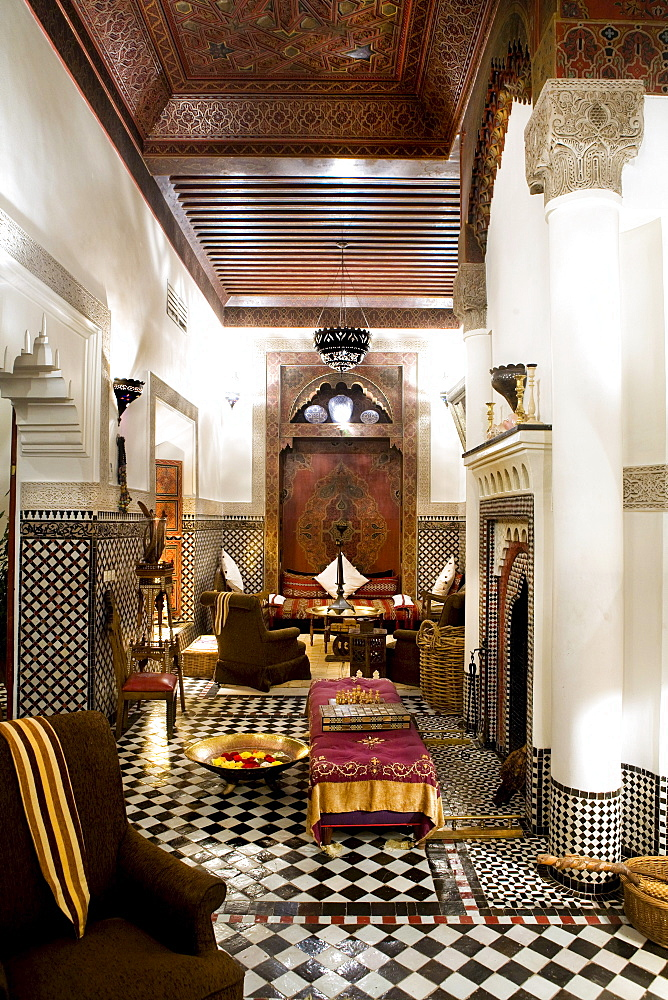 Interior at Riad Kaiss, Marrakech, Morocco, Africa