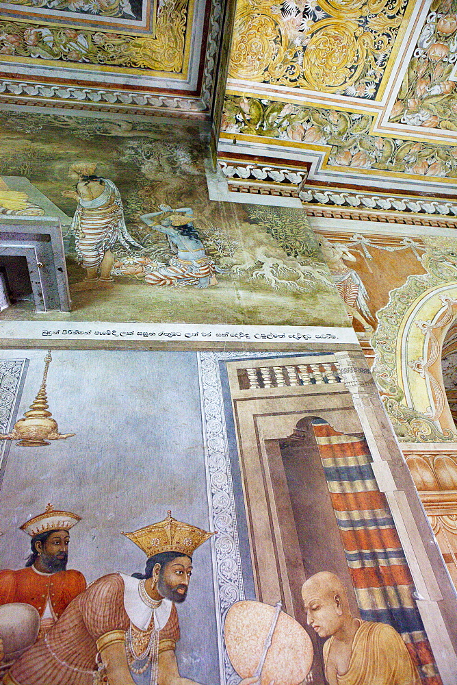 Mural paintings from the 18 Century inside the Kelaniya Raja Maha Vihara temple, Colombo, Sri Lanka, Asia