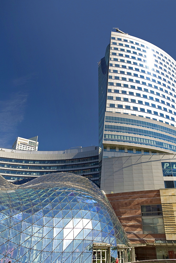 The Zlote Tarasy shopping Complex in the sunlight, Warsaw, Poland, Europe
