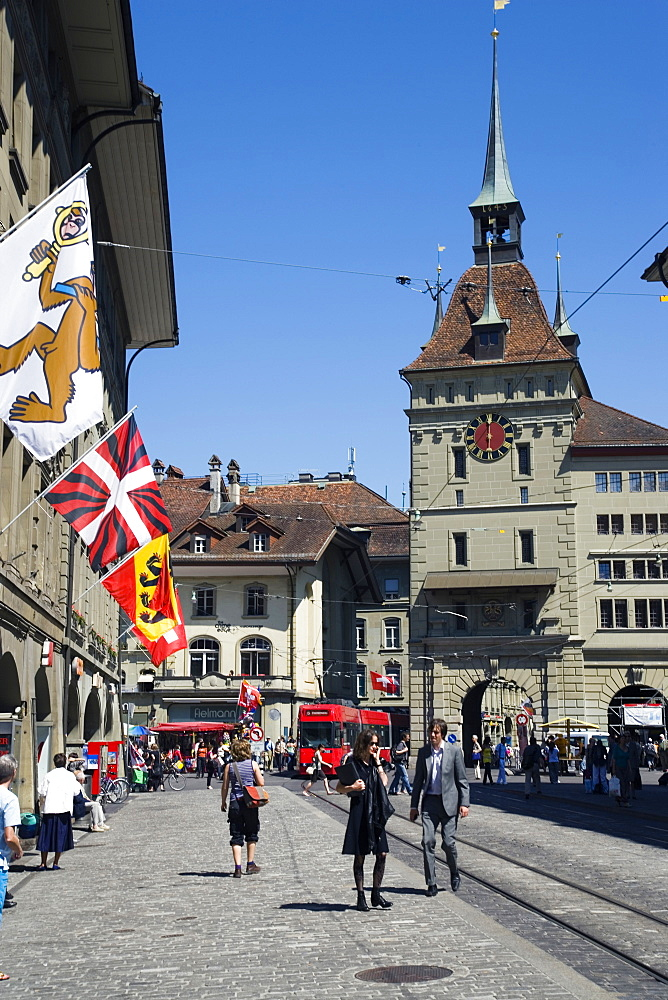 Prison Tower and square, Kaefigturm, Baerenplatz, Old City of Berne, Berne, Switzerland