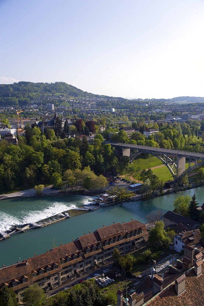 The river Aare with Kirchenfeld Bridge, Old City of Berne, Berne, Switzerland