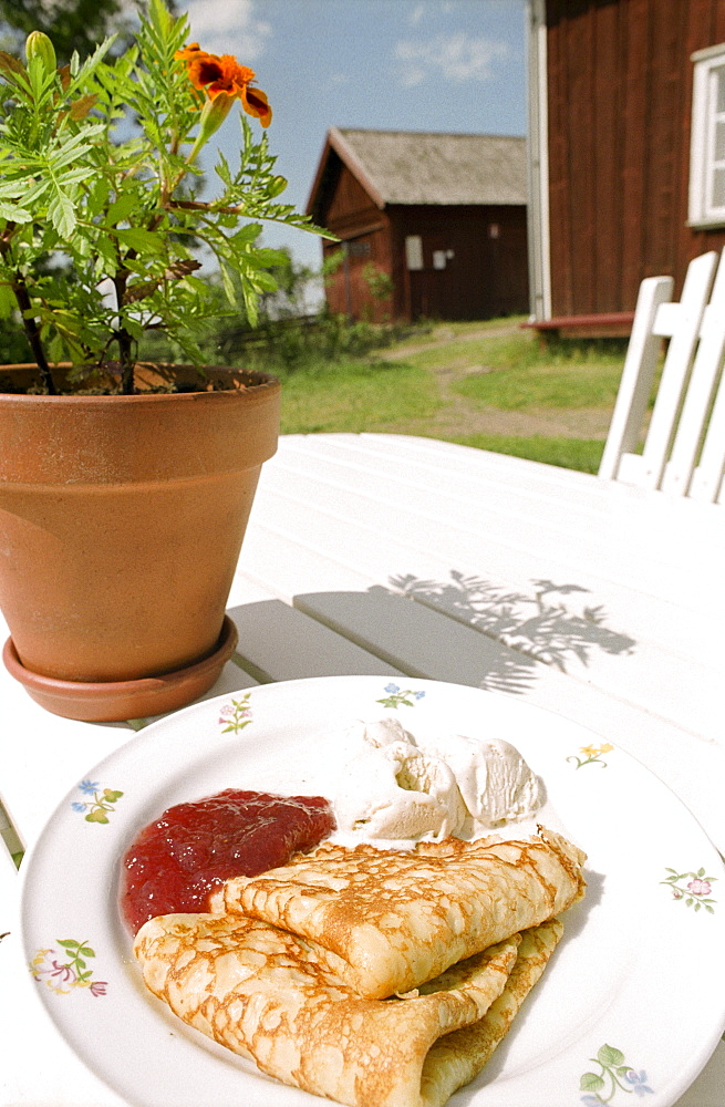 Pancake with jam, Sweden, Europe