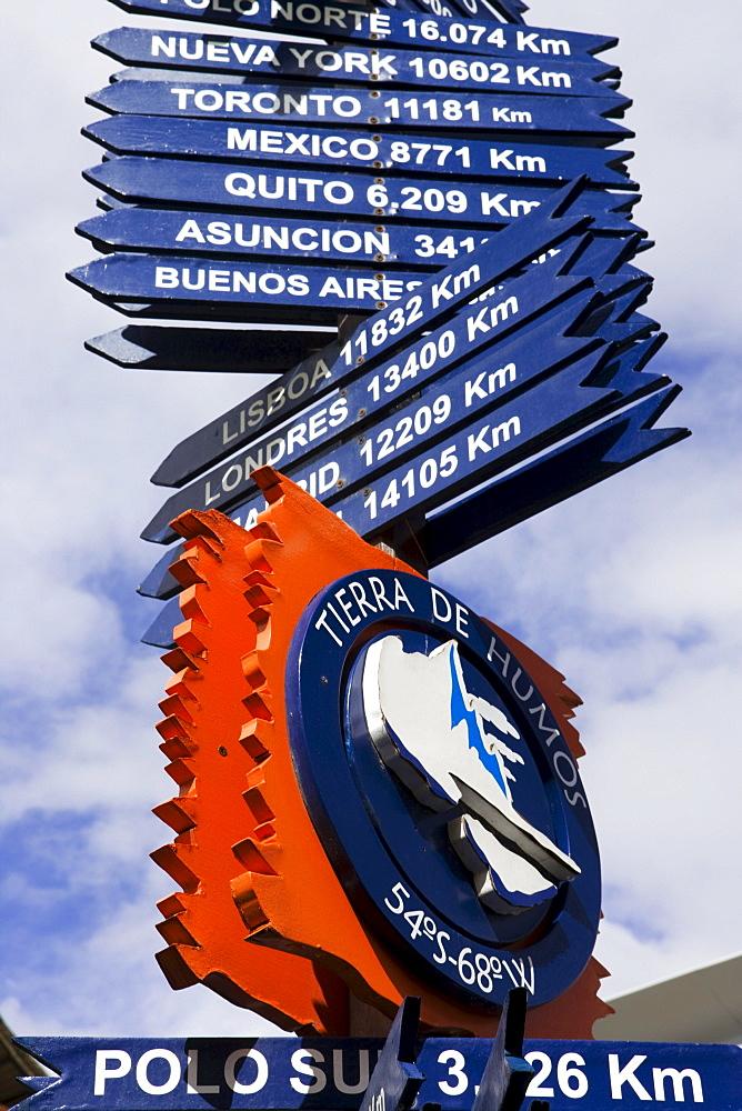 Direction signs, Ushuaia, Tierra del Fuego, Patagonia, Argentina, South America, America