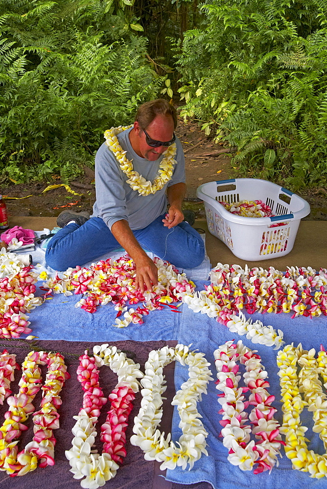 Man producing Lei at Akaka Falls State Park, Big Island, Hawaii, USA, America