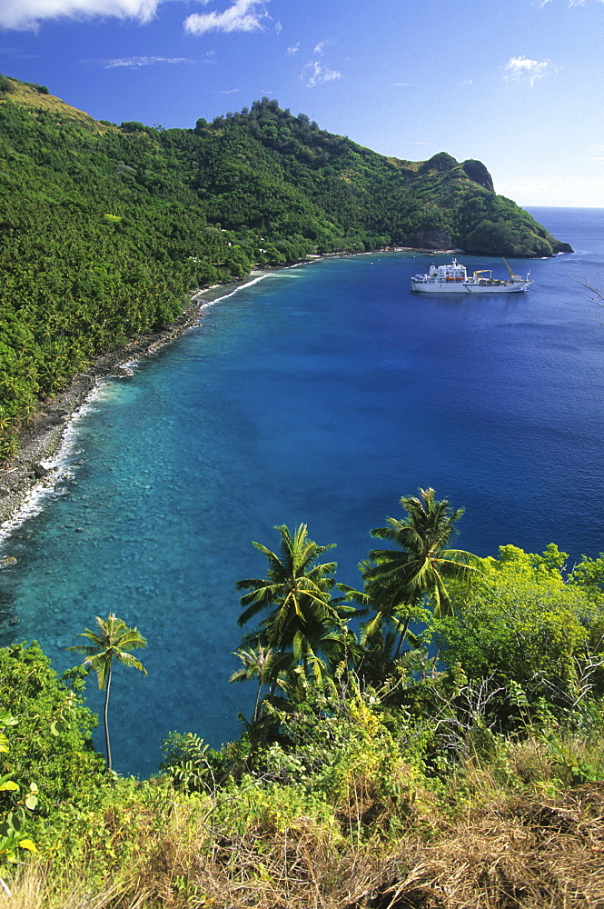 The freighter Aranui III anchoring in the Bay of Hapatoni off the island of Tahuata, French Polynesia