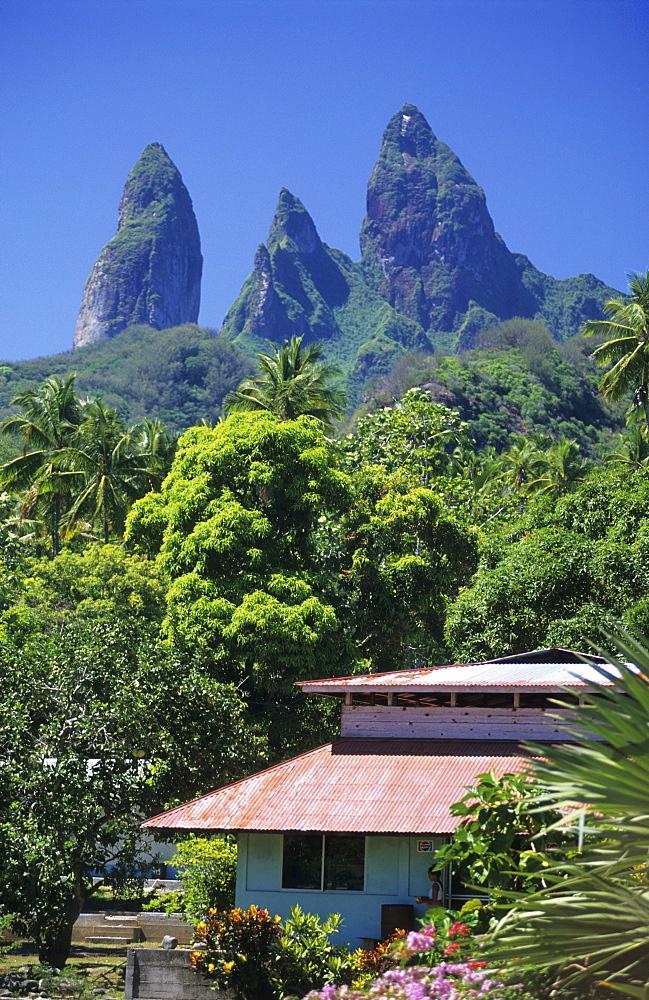 House in the village of Hakahetau on the island of Ua Pou, French Polynesia