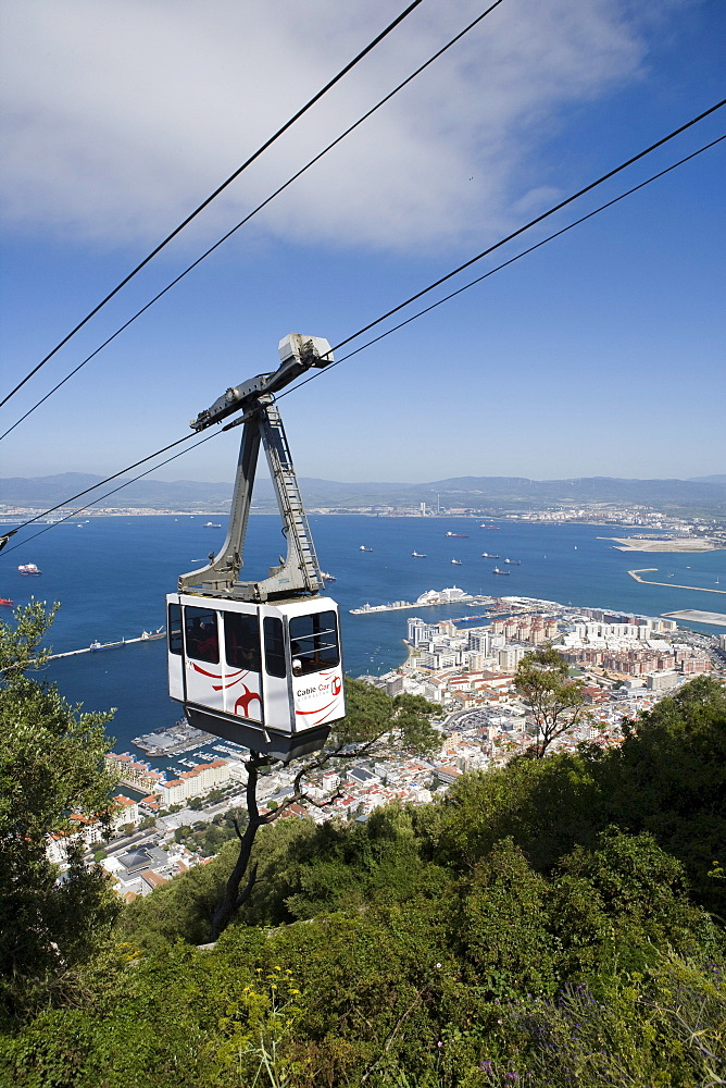 Gibraltar cable car gondola and cityscape, Upper Rock Nature Reserve, Gibraltar, Europe