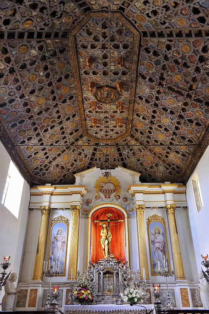 Wood-panelled ceeling in the canarian moorish style, the Church in Tacoronte, Tenerife, Canary Islands, Spain