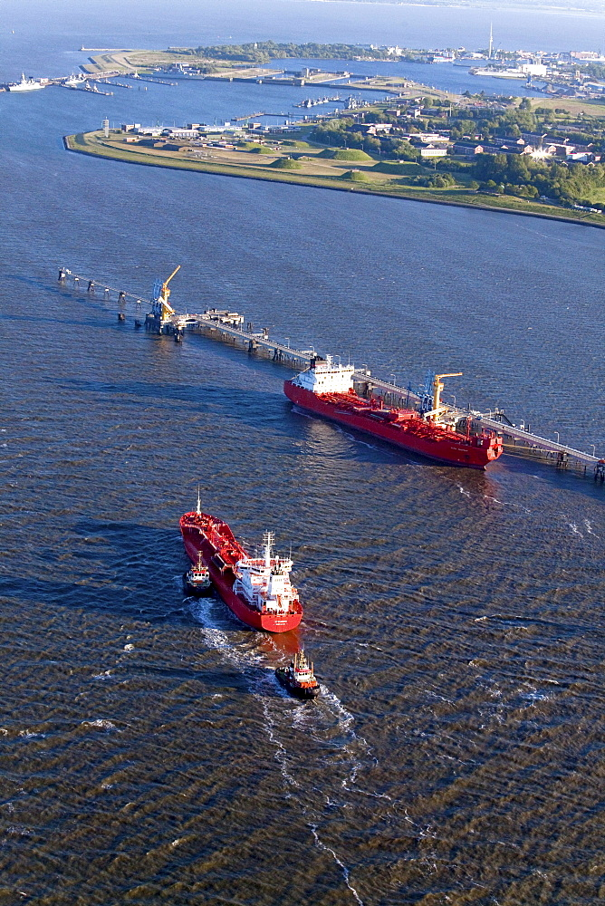 Aerial view of a red oil tanker, oil pier, Wilhelmshaven, Lower Saxony, Germany
