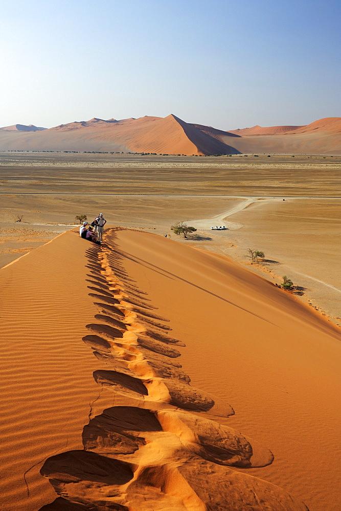 Group of people on red sand dune in Sossusvlei, dune 45, Sossusvlei, Namib Naukluft National Park, Namib desert, Namib, Namibia