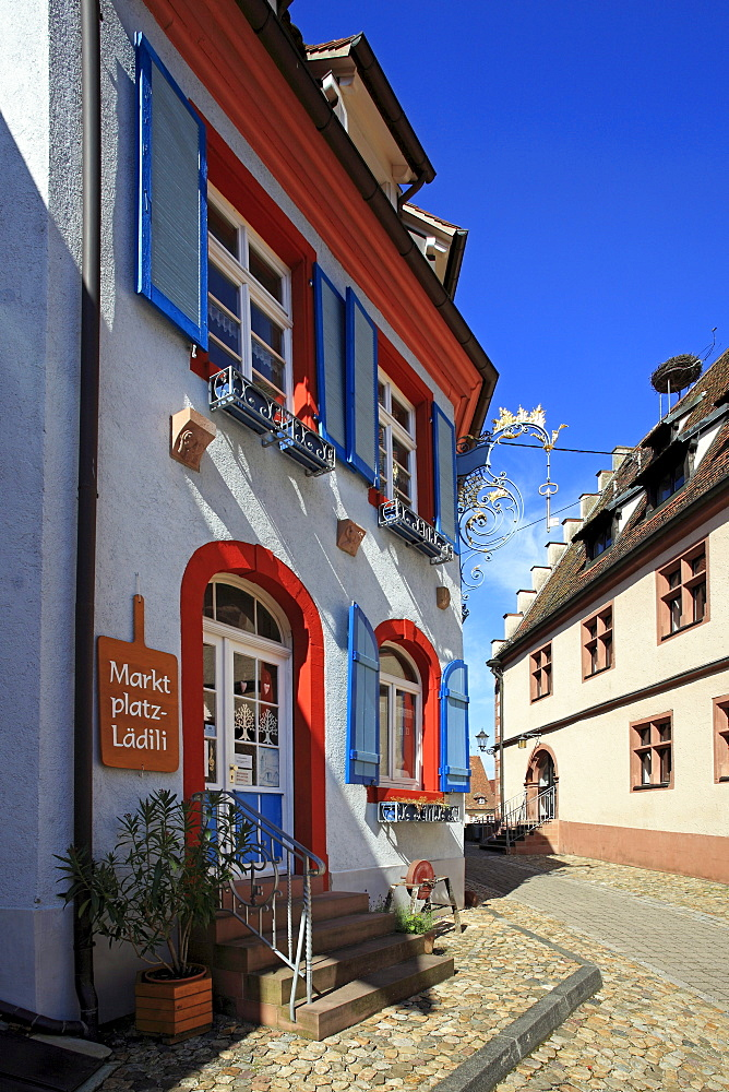 Shop at the market place, Endingen, Kaiserstuhl, Breisgau, Black Forest, Baden-Wuerttemberg, Germany