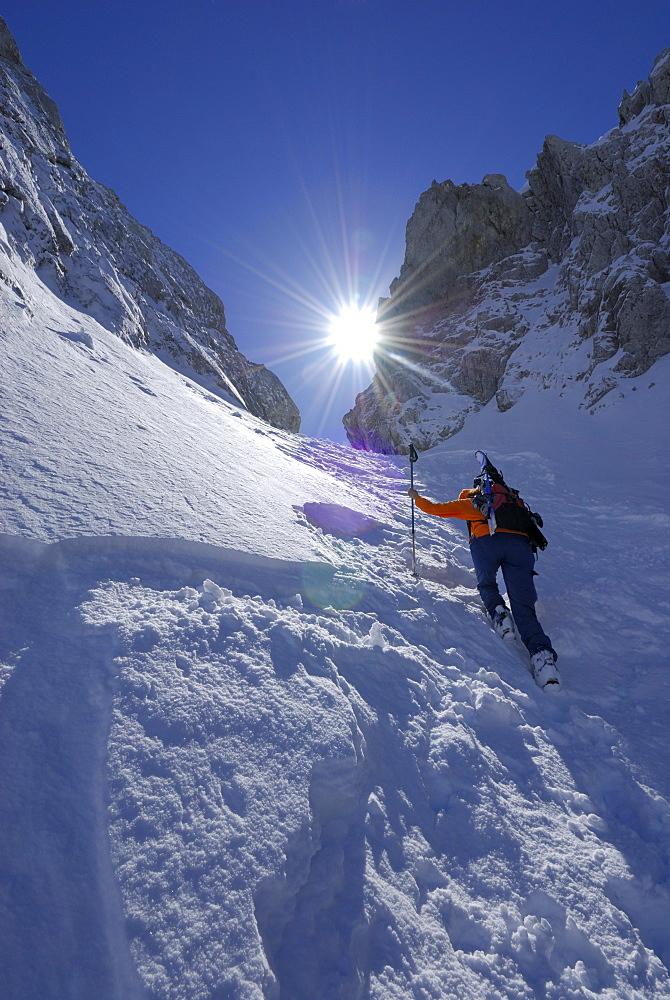 Female backcountry skier ascending, Griesner Kar, Wilder Kaiser, Kaiser range, Tyrol, Austria