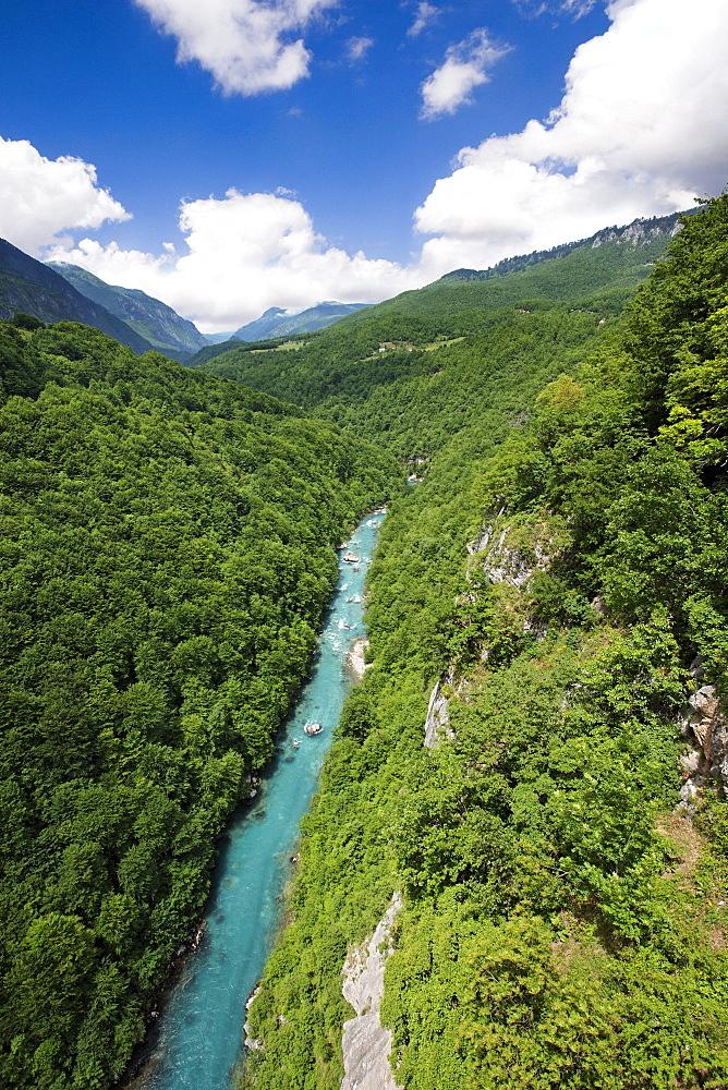View from Tara bridge onto Tara Valley and River, Montenegro, Europe